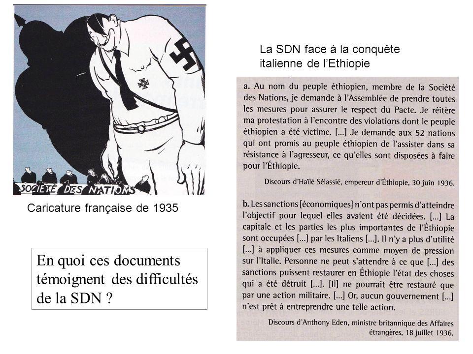 Caricature française de 1935 La SDN face à la conquête italienne de lEthiopie En quoi ces documents témoignent des difficultés de la SDN ?