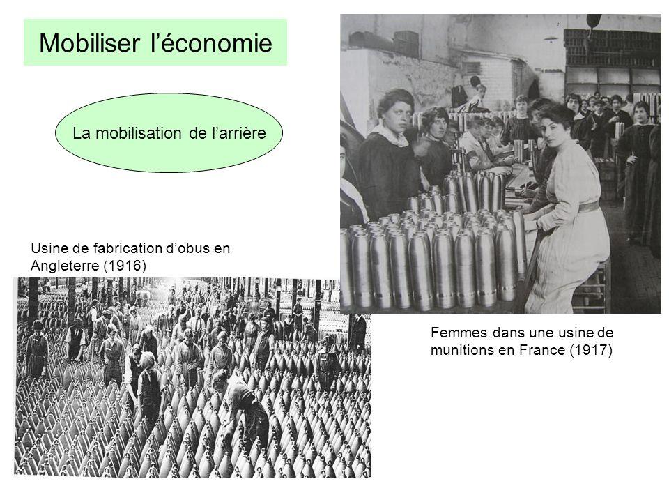La mobilisation de larrière Usine de fabrication dobus en Angleterre (1916) Femmes dans une usine de munitions en France (1917) Mobiliser léconomie