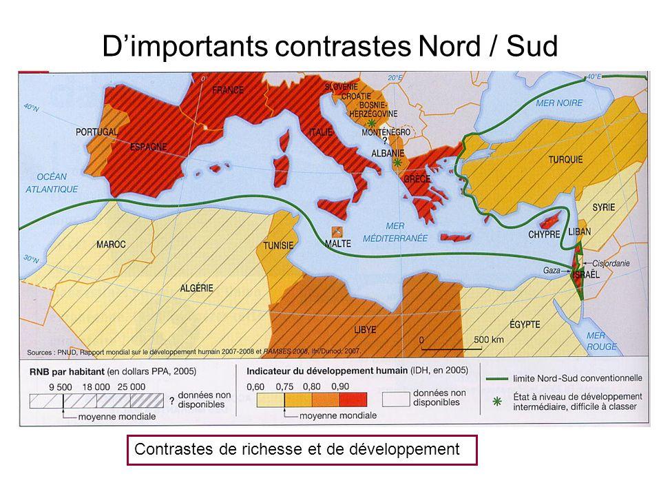 Dimportants contrastes Nord / Sud Contrastes de richesse et de développement