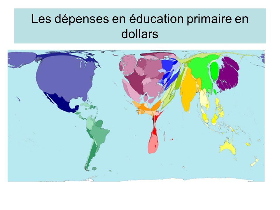 Les dépenses en éducation primaire en dollars