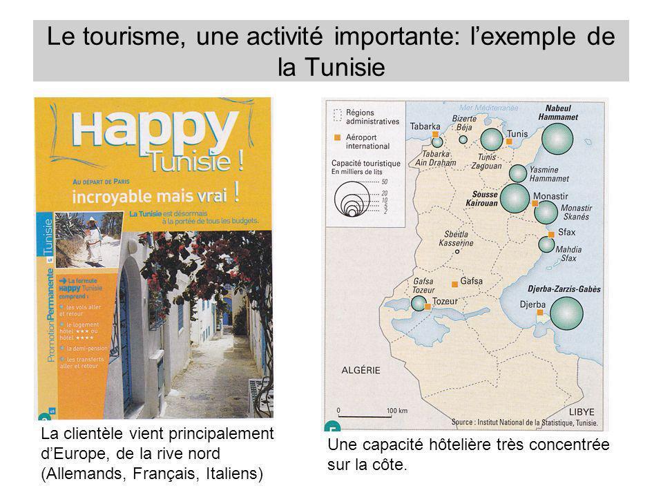Le tourisme, une activité importante: lexemple de la Tunisie Une capacité hôtelière très concentrée sur la côte. La clientèle vient principalement dEu
