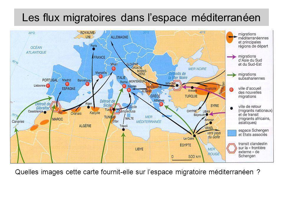 Les flux migratoires dans lespace méditerranéen Quelles images cette carte fournit-elle sur lespace migratoire méditerranéen ?