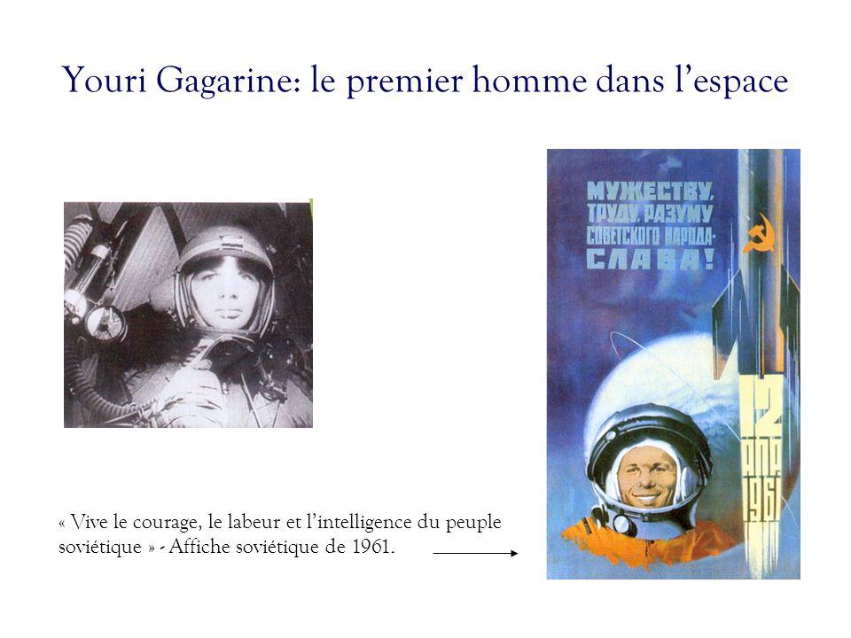 Youri Gagarine: le premier homme dans lespace « Vive le courage, le labeur et lintelligence du peuple soviétique » - Affiche soviétique de 1961.