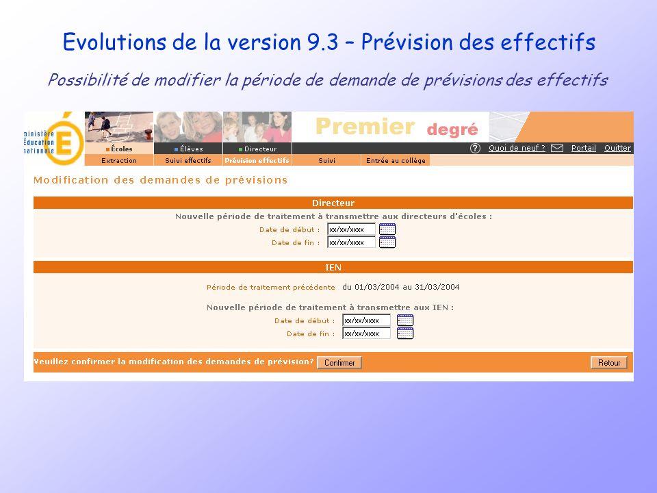 Evolutions de la version 9.3 – Prévision des effectifs Possibilité de modifier la période de demande de prévisions des effectifs