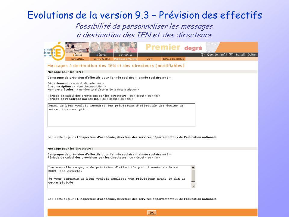 Evolutions de la version 9.3 – Prévision des effectifs Possibilité de personnaliser les messages à destination des IEN et des directeurs