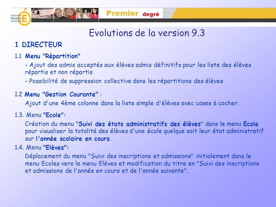 Evolutions de la version 9.3 – 1.3.