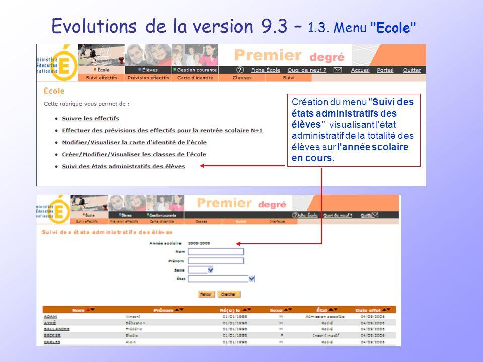 Evolutions de la version 9.3 – 1.4.
