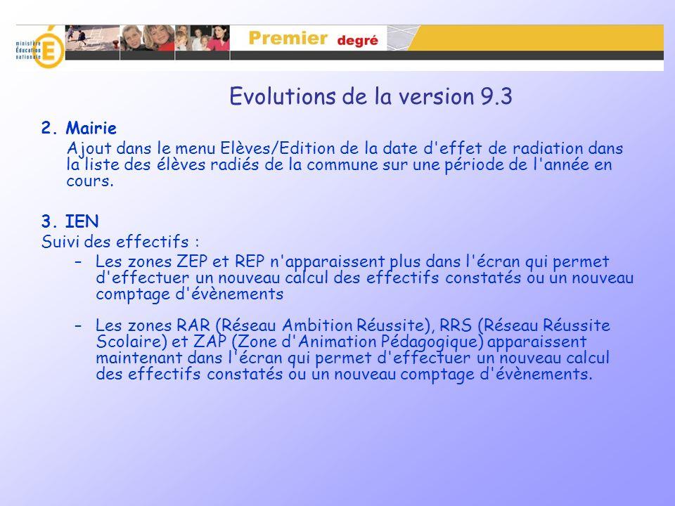 Evolutions de la version 9.3 – Prévision des effectifs Relancer les IEN pour le recadrage des prévisions des effectifs L IA peut relancer les IEN individuellement ou collectivement en fonction des résultats affichés Possibilité d extraction et d édition de ces listes