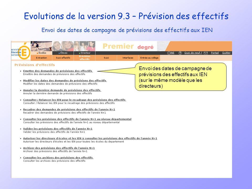 Evolutions de la version 9.3 – Prévision des effectifs Envoi des dates de campagne de prévisions des effectifs aux IEN au même titre que pour les directeurs