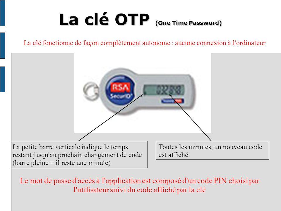 La clé OTP (One Time Password) Toutes les minutes, un nouveau code est affiché.