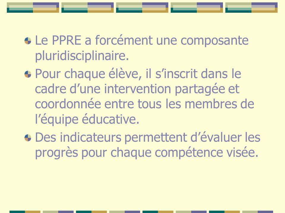 Le PPRE a forcément une composante pluridisciplinaire. Pour chaque élève, il sinscrit dans le cadre dune intervention partagée et coordonnée entre tou