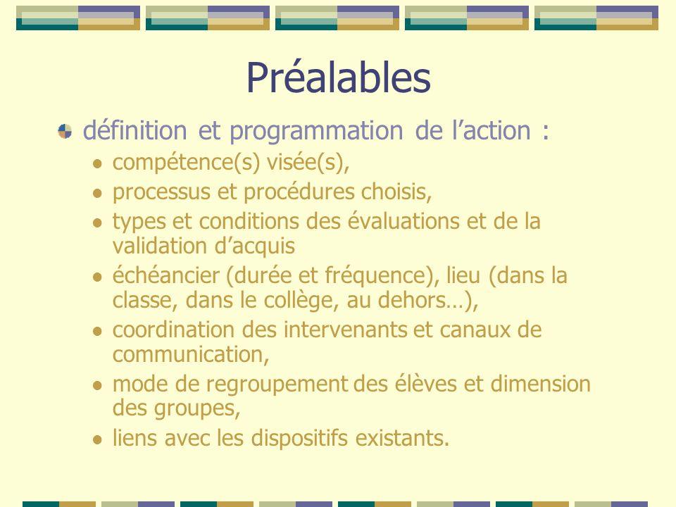 Préalables définition et programmation de laction : compétence(s) visée(s), processus et procédures choisis, types et conditions des évaluations et de