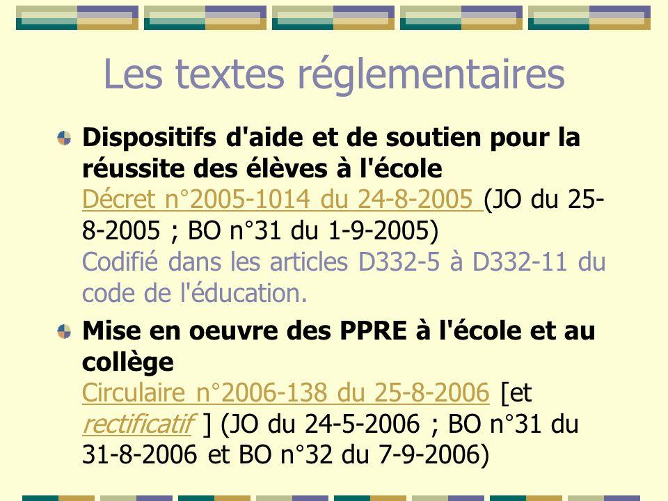 Les textes réglementaires Dispositifs d'aide et de soutien pour la réussite des élèves à l'école Décret n°2005-1014 du 24-8-2005 (JO du 25- 8-2005 ; B