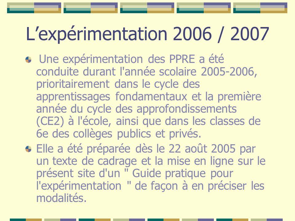 Lexpérimentation 2006 / 2007 Une expérimentation des PPRE a été conduite durant l'année scolaire 2005-2006, prioritairement dans le cycle des apprenti