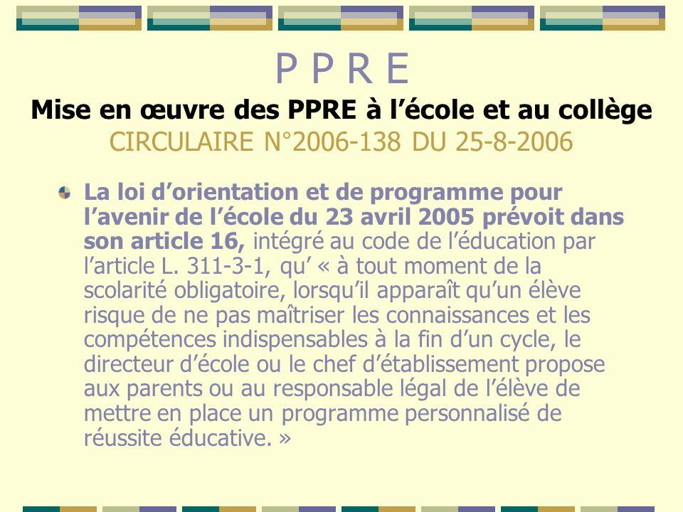 P P R E Mise en œuvre des PPRE à lécole et au collège CIRCULAIRE N°2006-138 DU 25-8-2006 La loi dorientation et de programme pour lavenir de lécole du