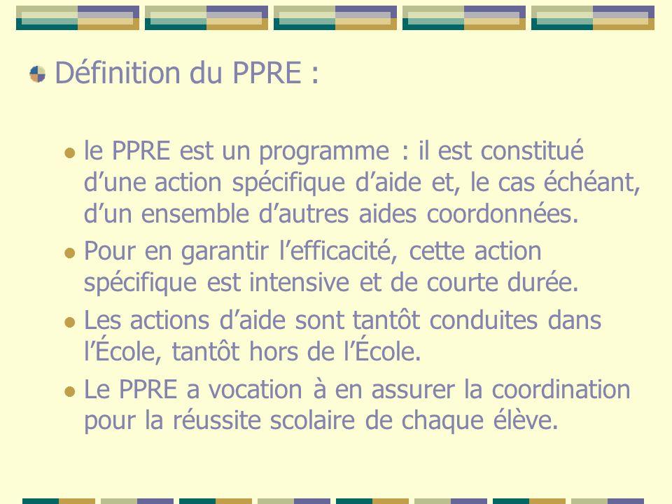 Définition du PPRE : le PPRE est un programme : il est constitué dune action spécifique daide et, le cas échéant, dun ensemble dautres aides coordonné
