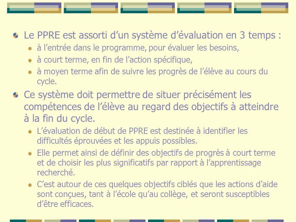 Le PPRE est assorti dun système dévaluation en 3 temps : à lentrée dans le programme, pour évaluer les besoins, à court terme, en fin de laction spéci