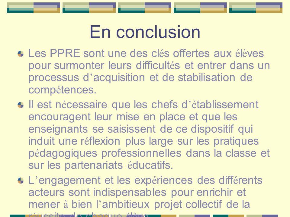 En conclusion Les PPRE sont une des cl é s offertes aux é l è ves pour surmonter leurs difficult é s et entrer dans un processus d acquisition et de s