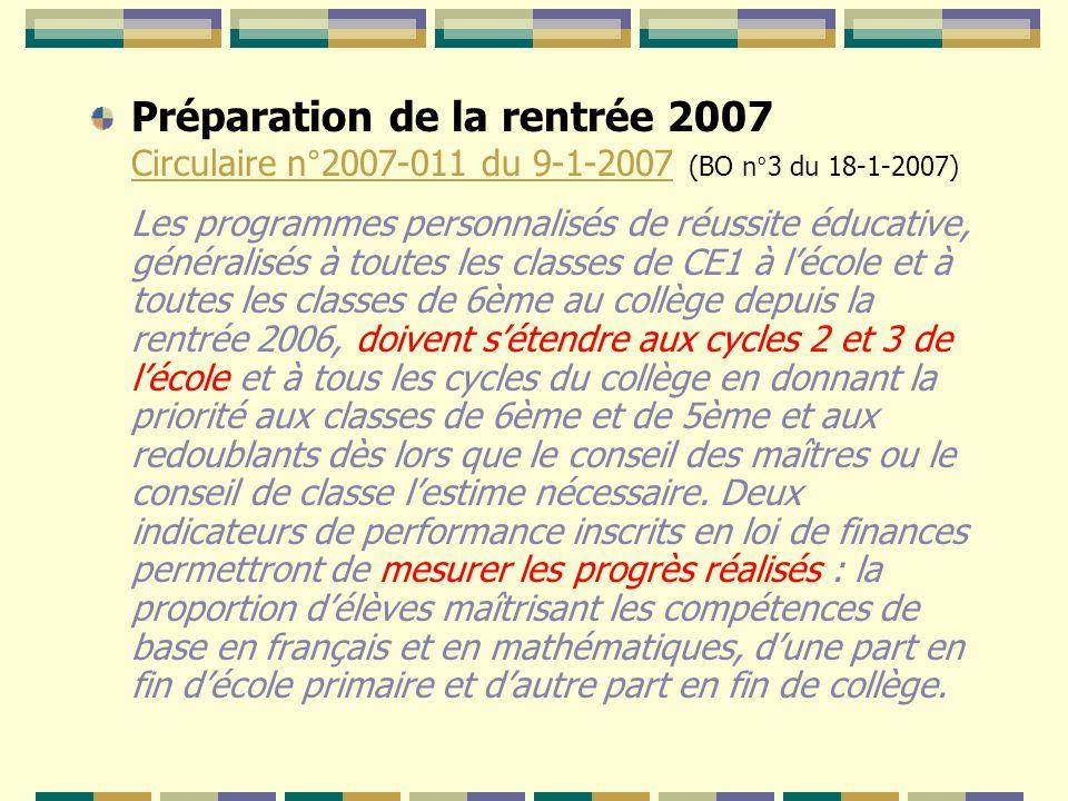 Préparation de la rentrée 2007 Circulaire n°2007-011 du 9-1-2007 (BO n°3 du 18-1-2007) Circulaire n°2007-011 du 9-1-2007 Les programmes personnalisés