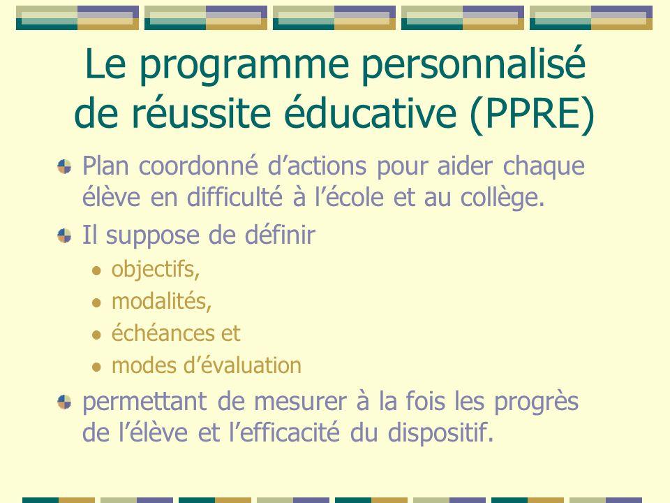 Le programme personnalisé de réussite éducative (PPRE) Plan coordonné dactions pour aider chaque élève en difficulté à lécole et au collège. Il suppos