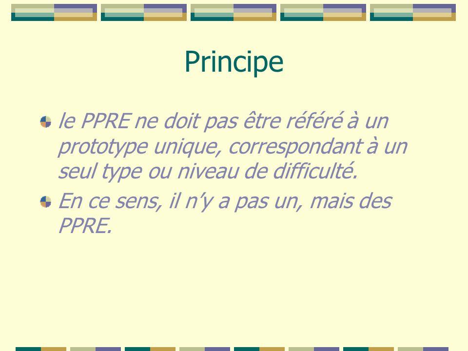 Principe le PPRE ne doit pas être référé à un prototype unique, correspondant à un seul type ou niveau de difficulté. En ce sens, il ny a pas un, mais