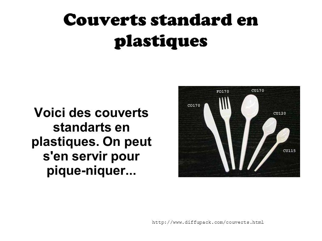 Couverts standard en plastiques Voici des couverts standarts en plastiques. On peut s'en servir pour pique-niquer... http://www.diffupack.com/couverts