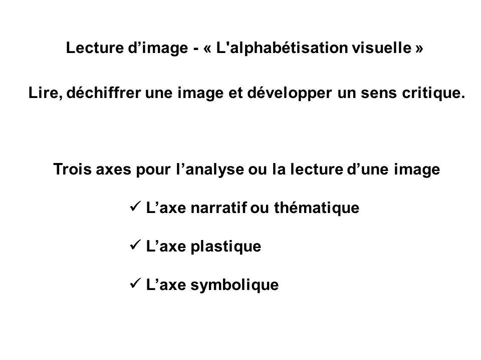 Lecture dimage - « L'alphabétisation visuelle » Lire, déchiffrer une image et développer un sens critique. Trois axes pour lanalyse ou la lecture dune