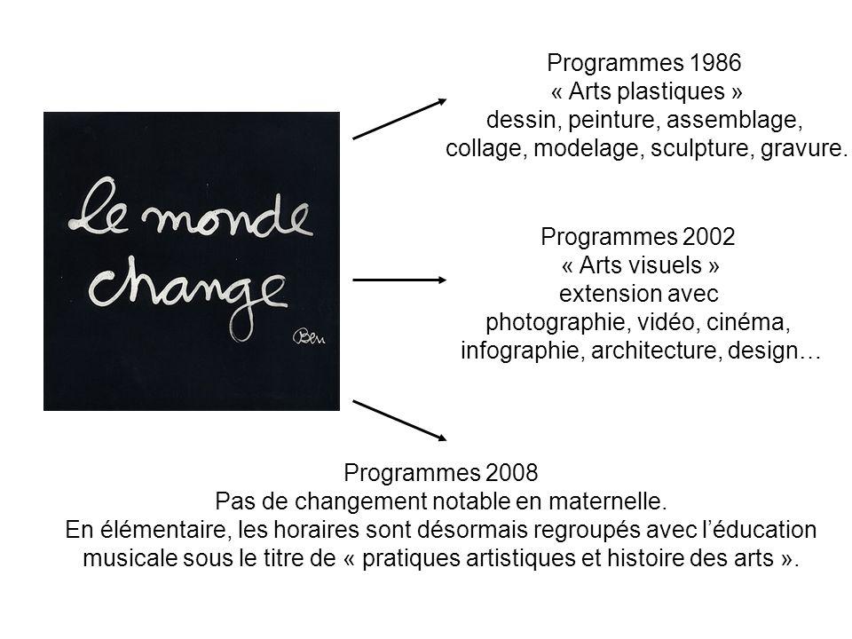 Programmes 1986 « Arts plastiques » dessin, peinture, assemblage, collage, modelage, sculpture, gravure. Programmes 2002 « Arts visuels » extension av