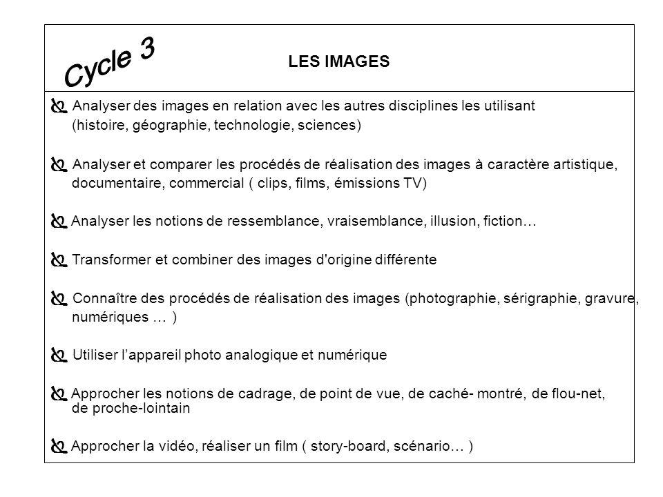 Analyser des images en relation avec les autres disciplines les utilisant (histoire, géographie, technologie, sciences) Analyser et comparer les procé