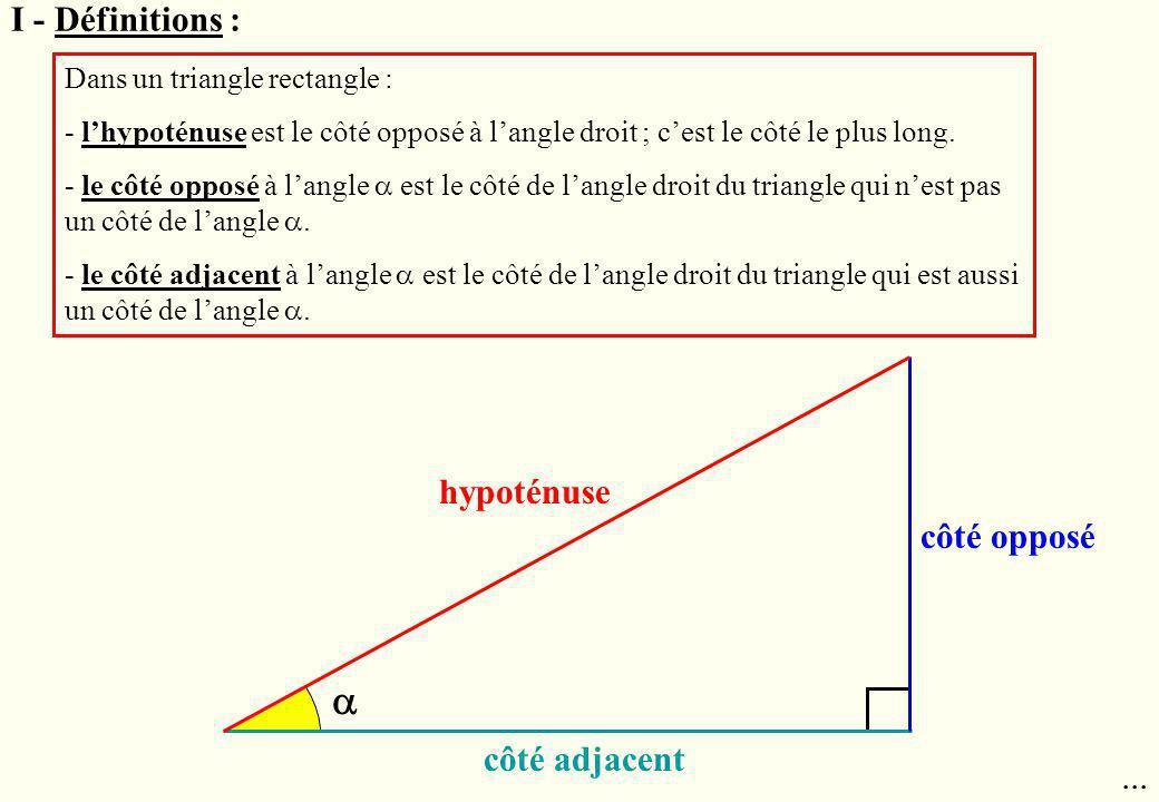 I - Définitions : Dans un triangle rectangle : - lhypoténuse est le côté opposé à langle droit ; cest le côté le plus long. - le côté opposé à langle