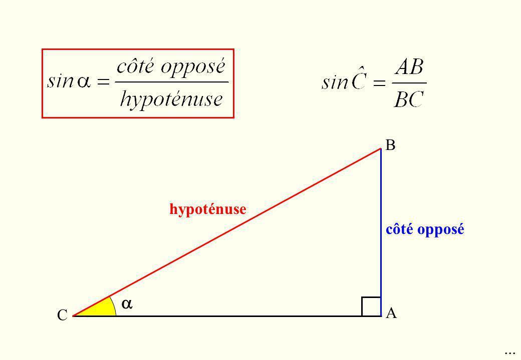 hypoténuse côté opposé B A C...