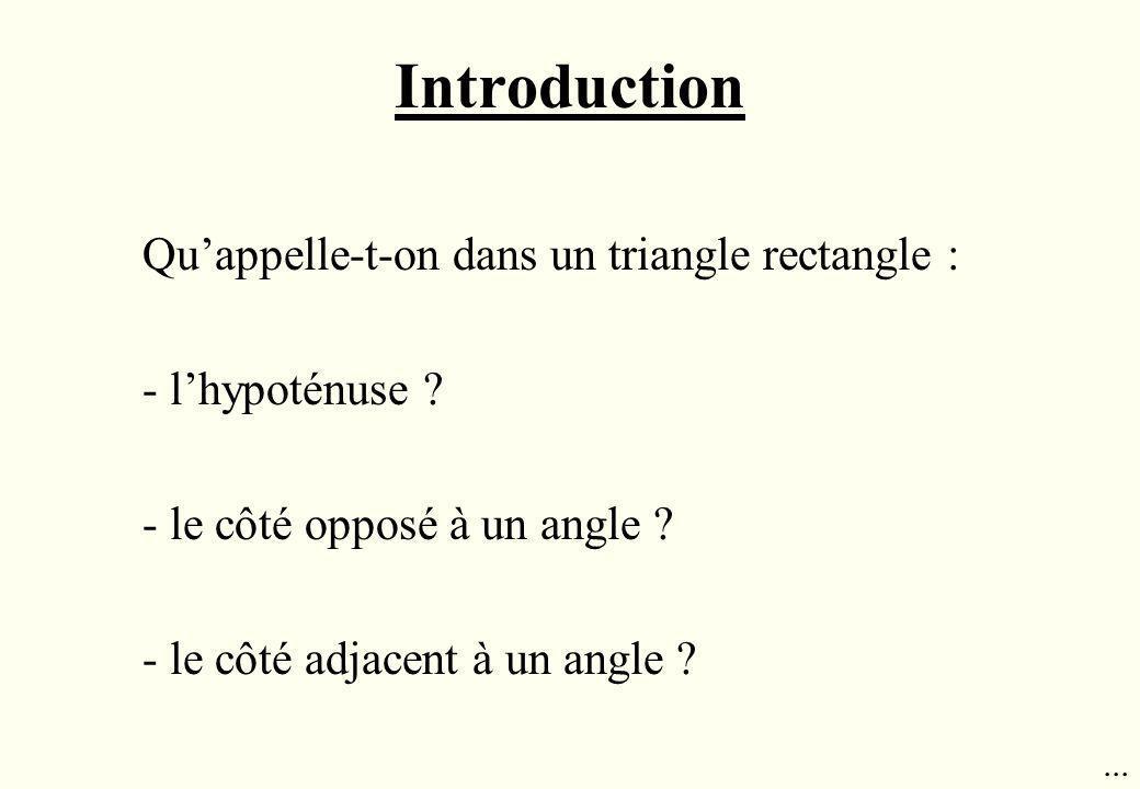 Introduction Quappelle-t-on dans un triangle rectangle : - lhypoténuse ? - le côté opposé à un angle ? - le côté adjacent à un angle ?...