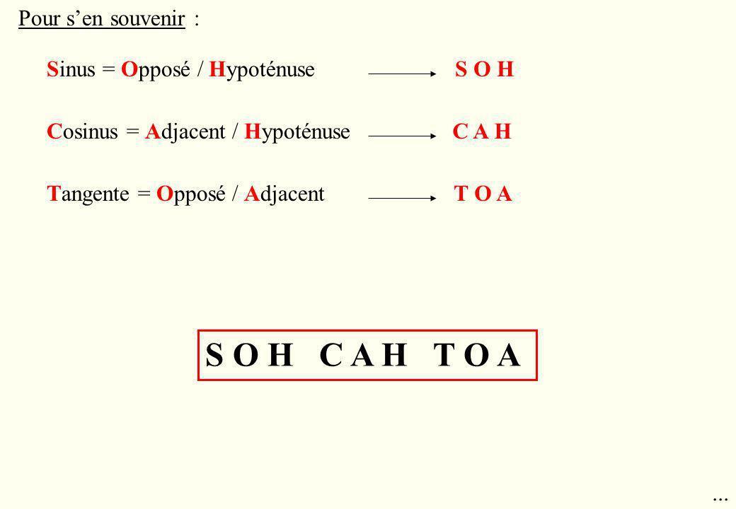 Pour sen souvenir : Sinus = Opposé / Hypoténuse Cosinus = Adjacent / Hypoténuse Tangente = Opposé / Adjacent S O H C A H T O A S O H C A H T O A...