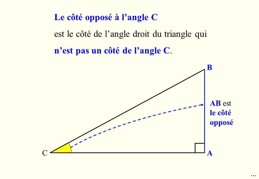 B AC AB est le côté opposé Le côté opposé à langle C est le côté de langle droit du triangle qui nest pas un côté de langle C....