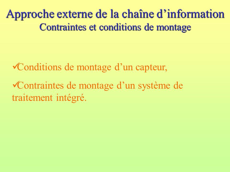 Approche externe de la chaîne dinformation Contraintes et conditions de montage Conditions de montage dun capteur, Contraintes de montage dun système