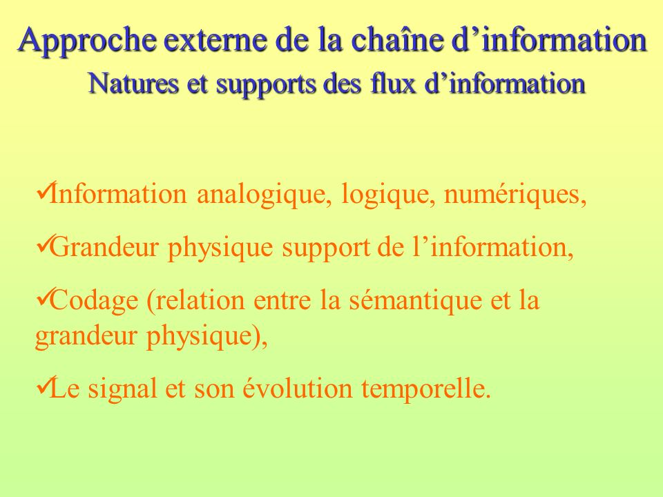 Approche externe de la chaîne dinformation Natures et supports des flux dinformation Information analogique, logique, numériques, Grandeur physique su