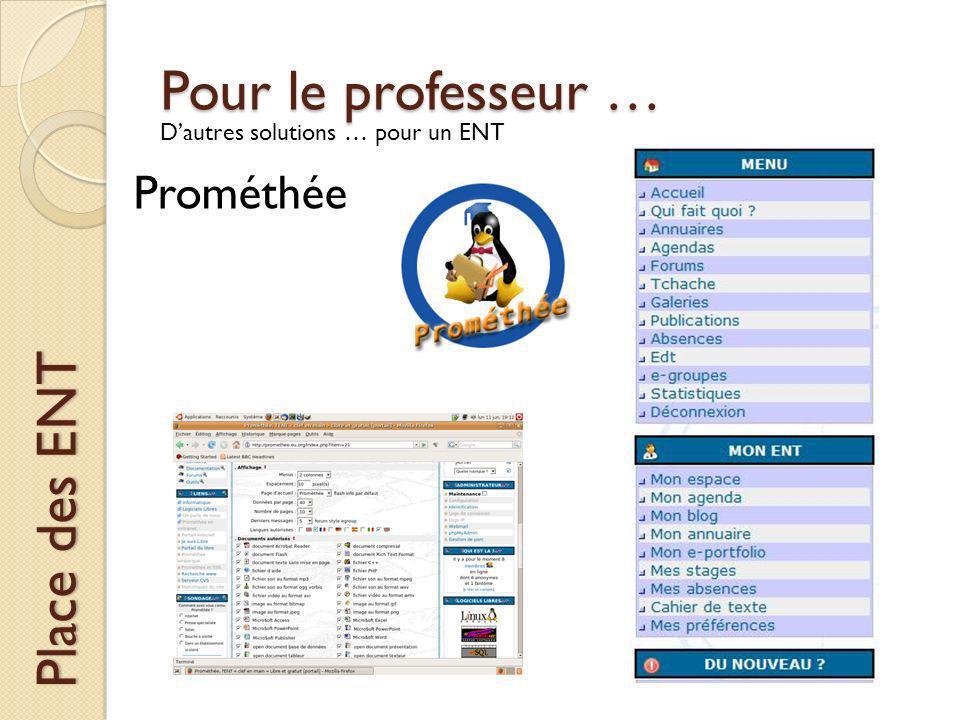 Pour le professeur … Place des ENT Dautres solutions … pour un ENT Prométhée