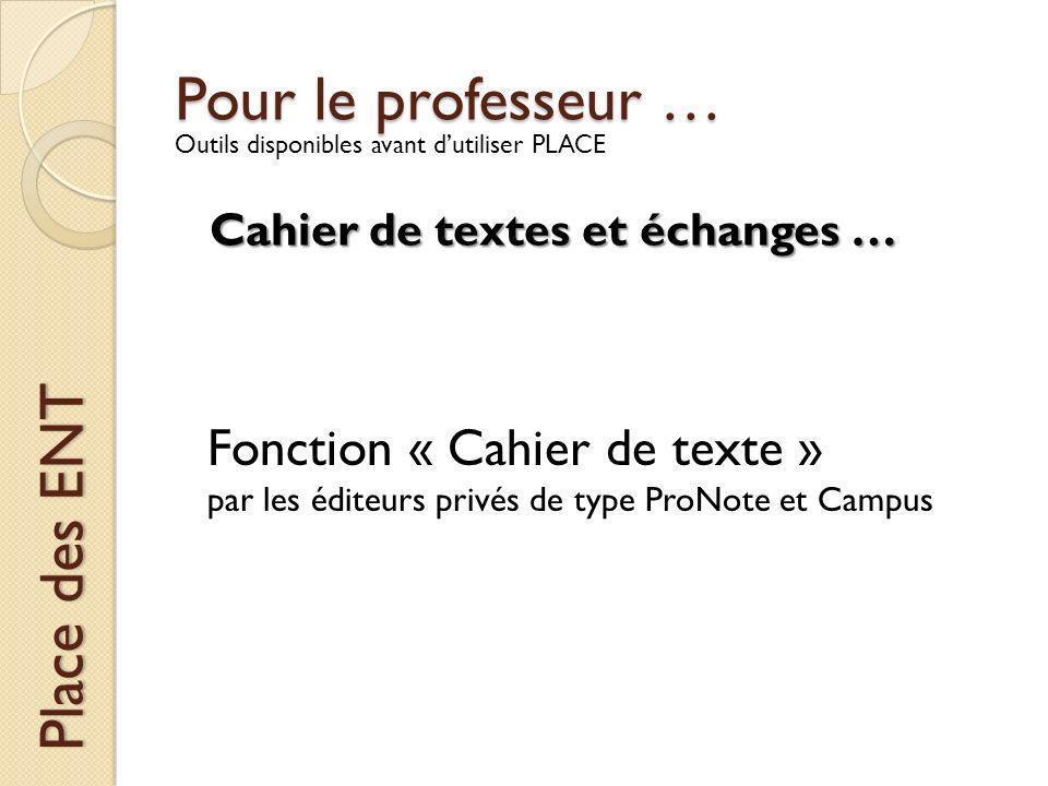 Pour le professeur … Fonction « Cahier de texte » par les éditeurs privés de type ProNote et Campus Cahier de textes et échanges … Place des ENT Outil