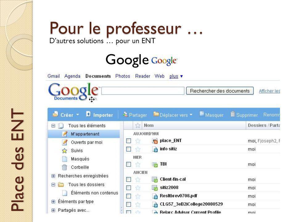 Pour le professeur … Place des ENT Dautres solutions … pour un ENT Google
