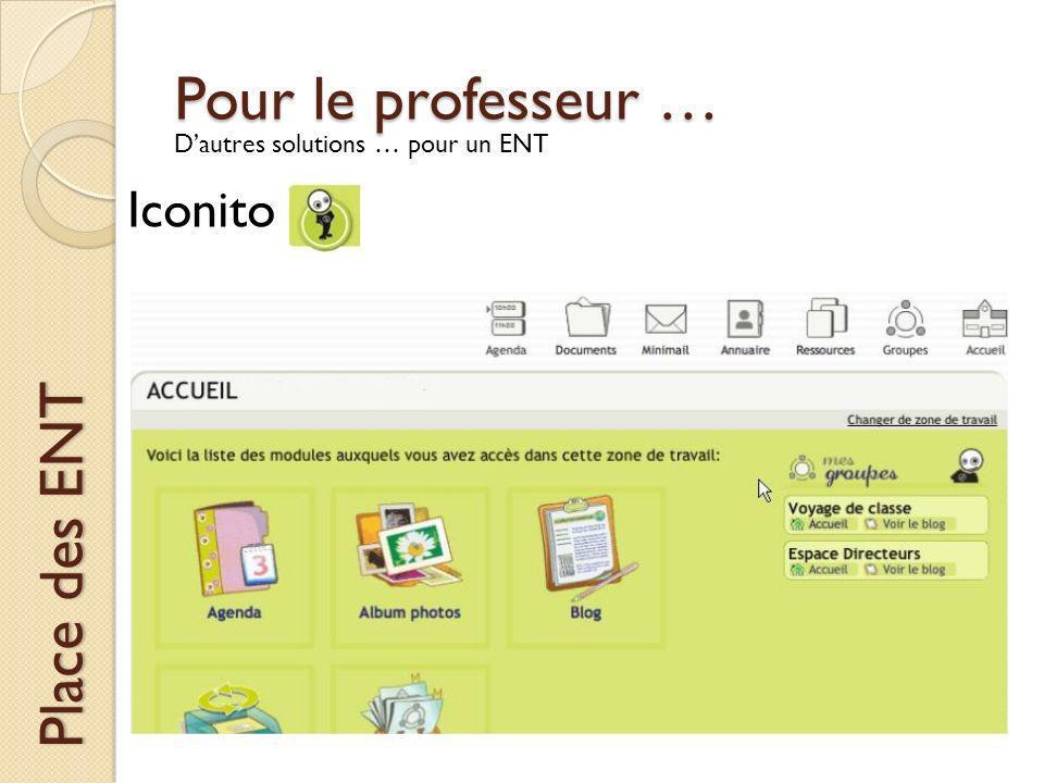 Pour le professeur … Place des ENT Dautres solutions … pour un ENT Iconito