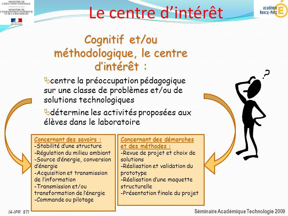 IA-IPR STI Séminaire Académique Technologie 2009 Cognitif et/ou méthodologique, le centre dintérêt : centre la préoccupation pédagogique sur une class