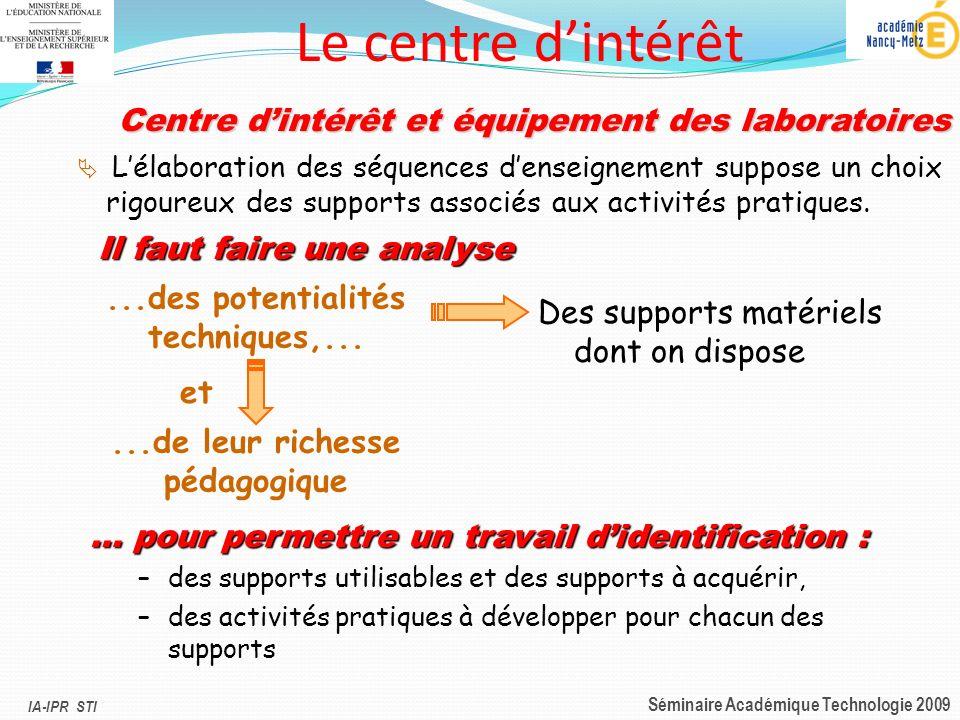 IA-IPR STI Séminaire Académique Technologie 2009 Il faut faire une analyse Des supports matériels dont on dispose...de leur richesse pédagogique...des