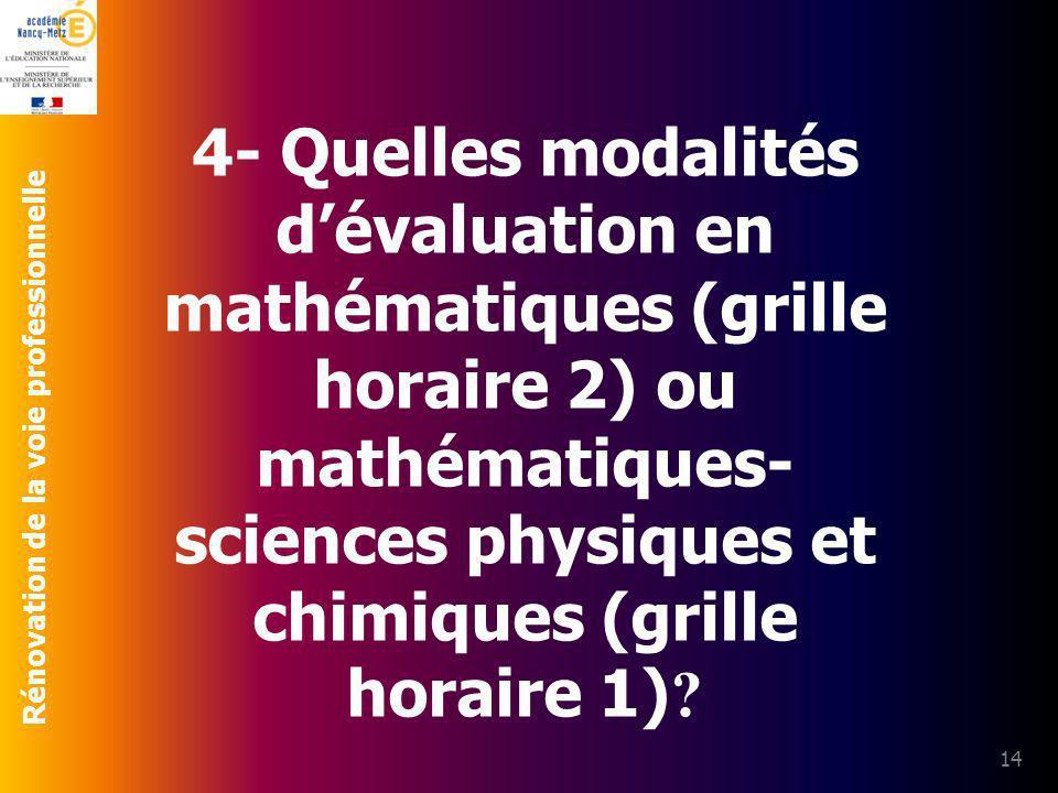 Rénovation de la voie professionnelle 14 4- Quelles modalités dévaluation en mathématiques (grille horaire 2) ou mathématiques- sciences physiques et