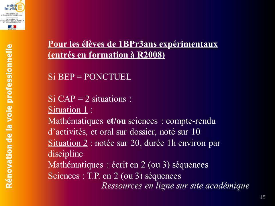 Rénovation de la voie professionnelle 15 Pour les élèves de 1BPr3ans expérimentaux (entrés en formation à R2008) Si BEP = PONCTUEL Si CAP = 2 situatio