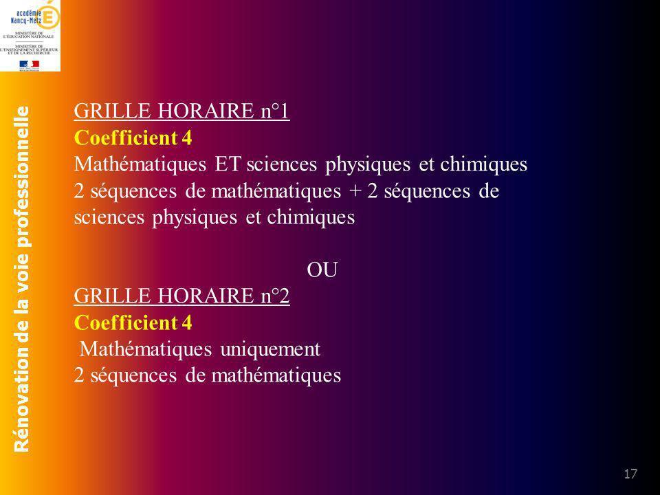 Rénovation de la voie professionnelle 17 GRILLE HORAIRE n°1 Coefficient 4 Mathématiques ET sciences physiques et chimiques 2 séquences de mathématique