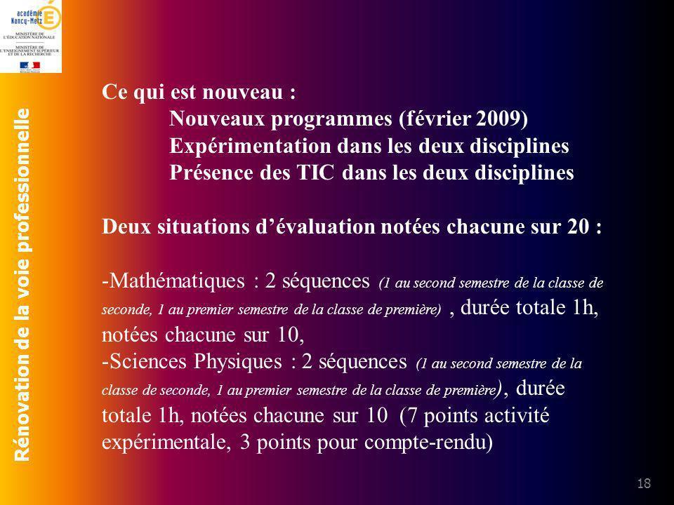 Rénovation de la voie professionnelle 18 Ce qui est nouveau : Nouveaux programmes (février 2009) Expérimentation dans les deux disciplines Présence de