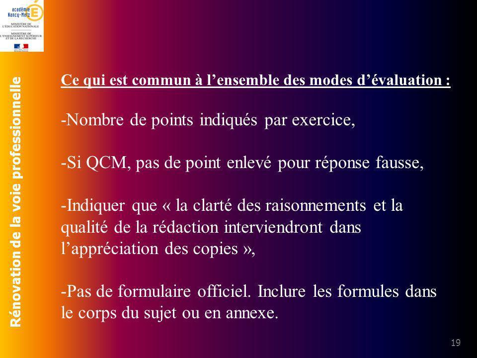 Rénovation de la voie professionnelle 19 Ce qui est commun à lensemble des modes dévaluation : -Nombre de points indiqués par exercice, -Si QCM, pas d