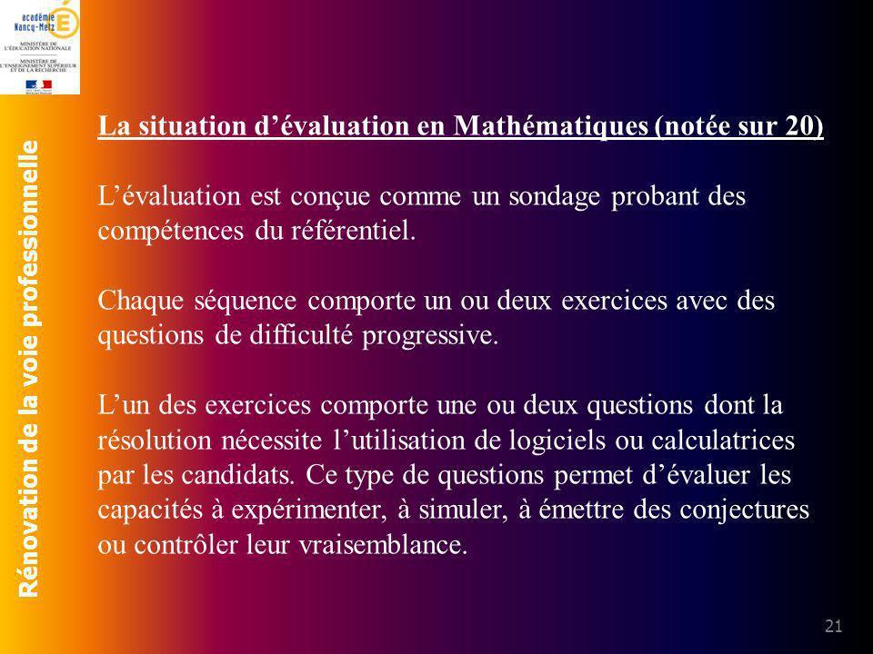 Rénovation de la voie professionnelle 21 La situation dévaluation en Mathématiques (notée sur 20) Lévaluation est conçue comme un sondage probant des
