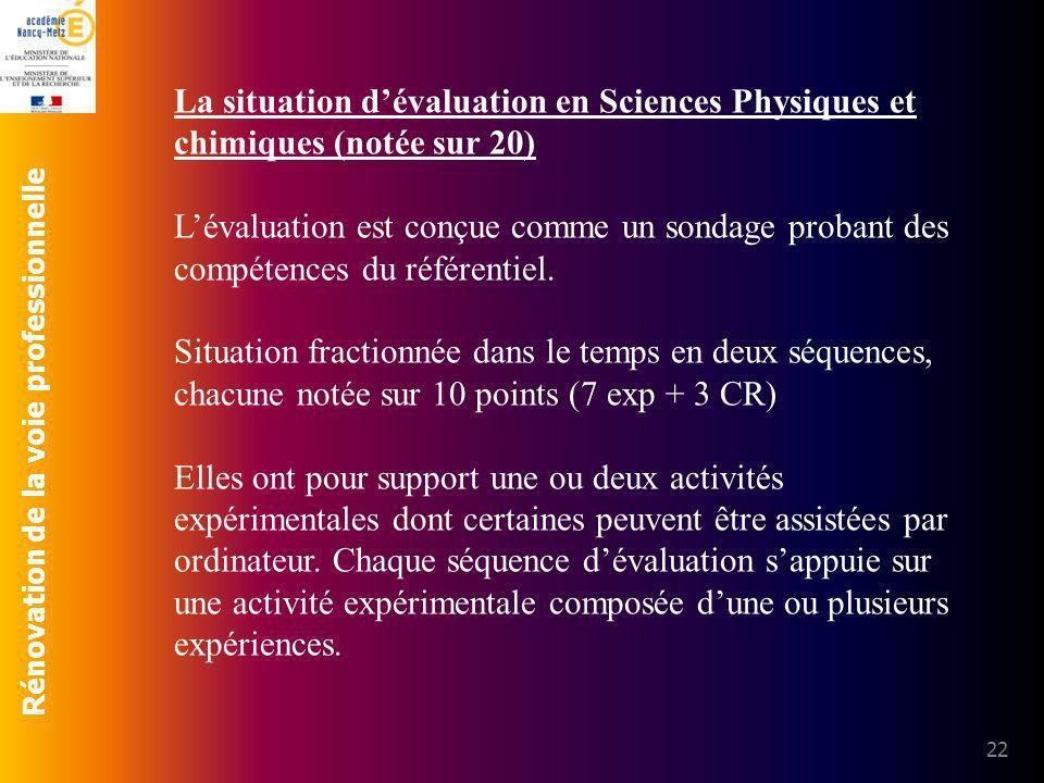 Rénovation de la voie professionnelle 22 La situation dévaluation en Sciences Physiques et chimiques (notée sur 20) Lévaluation est conçue comme un so