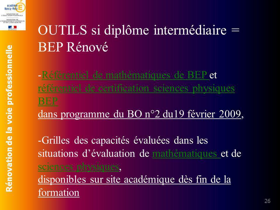 Rénovation de la voie professionnelle 26 OUTILS si diplôme intermédiaire = BEP Rénové -Référentiel de mathématiques de BEP et référentiel de certifica